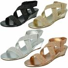 LADIES SAVANNAH ELASTIC WEDGE SANDALS WITH STUD DETAIL STYLE: F10735