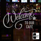 WELCOME CAFE Frosted or White Vinyl Cut Window Glass  Decal Stickers Shop