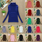Women's Strench Plain Shirts Polo Turtle Roll Neck Top Jumper Long Sleeve Blouse