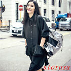 BF Style Women Loose Trench Coat Mid Long T Shirt Dress Single Breasted Oversize