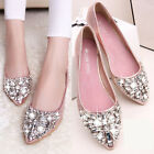Glitter Women Ballet Loafers Moccasins Pointy Rhinestone Flats Ballerina Shoes