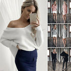 Women Fashion Deep V Neck Casual Pullover Sweater Long Sleeve T-shirt Tops