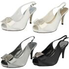 LADIES ANNE MICHELLE PEWTER SLINGBACK SANDALS WITH PEEP TOE STYLE: F10254