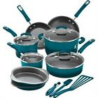Rachael Ray 15 Pc Hard Enamel Nonstick Cookware Set Marine Blue Oven Safe to 350