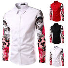 Fashion Mens Floral Stylish Casual Dress Slim Fit T-Shirts Casual Long Sleeve