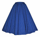 Vintage Retro 40's 50's Full Circle Blue Polka Dot Rockabilly Jive Swing Skirt