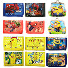 Pokemon Spiderman Minions Boys Wallet Trifold Zip Kids Cartoon Coin Purse