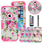 Deluxe Matte Peony Flower Dual Layer Hybrid Shockproof Case For iPhone 6 / Plus