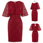 Women Ladies Lace Short Sleeve Dresses Wedding Evening Party Formal Gown Dress