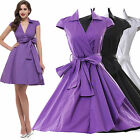 Vintage V Neck 50s 60s Style Swing Formal Housewife Party Prom Evening Dresses
