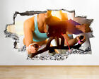 Q860 Girl Cycle Gym Fit Exercise Smashed Wall Decal 3D Art Stickers Vinyl Room