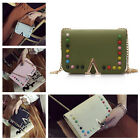 New Women Mini PU Leather Shoulder Bag Handbag Rivet Bag Chain Crossbody Bag