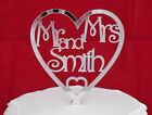 NEW Personalised  MR & MRS  mirror acrylic heart Wedding Cake Topper laser cut