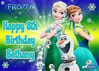 Disney Princess Anna Elsa Frozen Fever Personalised Icing Birthday Cake Topper