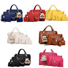 New 4PCS Women's  Handbag Shoulder Tote Purse Leather Messenger Embossed Bags