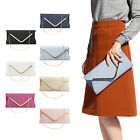 Womens Faux Suede Velvet Envelope Clutch Bag Plain Wedding Evening Prom Handbag
