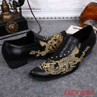 Mens British Pointed Toe Cuban Heels Formal Wedding Drss embroidery Retro Shoes