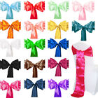 1 10 50 100 Satin Chair Cover Sash Bows Wedding Banquet Reception 25 Colors New