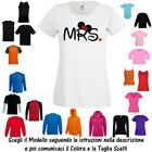 T-Shirt Mrs Mrs. Signora Dame Moglie Mamma Donna Cotone Fruit of the Loom Russel