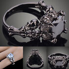 Womens Retro Punk Black Gold Plated Skull Cubic Zirconia Ring Gift Size 6-9