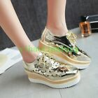 Womens Hollow Out Wedge Heels Lace Up Shoes Platform Glitter Sneaker Shoes Vogue