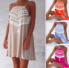 Summer Ladies Long Camisole Strappy Short Mini Dress Backless Tassel Sundress