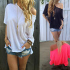 NEW FASHION WOMENS CASUAL BAGGY LOOSE FIT TOPS LADIES HALF SLEEVE BLOUSE T-SHIRT
