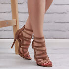 Womens Brown Open Toe Party Sandal Ladies Strappy High Heel Stiletto Shoe Size
