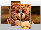 BEAR CUTE I LOVE YOU HEART TEDDY LARGE SPLIT PANEL 4 PANEL CANVAS WALL ART IMAGE