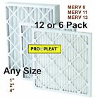 "(6-12 pack) PRO-PLEAT Pleated Furnace AIR Filters House AC 1"" 2"" 4"" MERV 8 11 13"