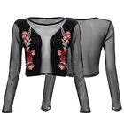 Embroidery Women's See Through Lace Floral Printed  Sexy Crop Top Black Fashion