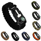 Rope Camping Survival Bracelet Flint Fire Starter Compass Whistle Outdoor Wrists