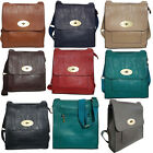 New Ladies Faux Leather Medium Turnlock Messenger & Cross Body Bag With Zip