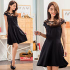 Classic Black Women's Dress Short Sleeve Lace Work Casual Everyday Party Dresses