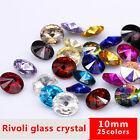 50p10mm Round color pointed Foiled back faceted Crystal glass jewels Rhinestones