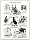 ANTIQUE VICTORIAN CATALOGUE ILLUSTRATION BICYCLES TRICYCLES A3  POSTER REPRINT