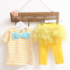 2PCS Baby Kids Girl Stripe T-shirt Tops + Tulle Skirt Flower Sets Clothes Sets