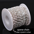 1/10yard ss6-ss38 Crystal clear Rhinestone Cup silver Chain Costume trim sewing