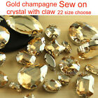 Gold champagne flatback Rhinestones Sewing On Crystal glass silver plate buttons