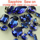 Sapphire Sew On Faceted Crystal cut glass flatback Rhinestones 4Hole silver claw