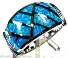 Blue Fire Opal Inlay Solid 925 Sterling Silver Men's or Women's Ring Size 6 - 9