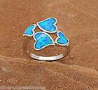 Hot Seller!! Blue Fire Opal Inlay 925 Sterling Silver Heart Ring Size 6 - 9