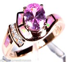 Rose Gold Plated Pink Topaz & Fire Opal 925 Sterling Silver Ring Sz 6,7,8,9