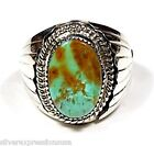 Rare Natural Unique Turquoise & 925 Sterling Silver Handmade Men's Ring size 9.5