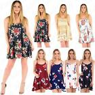 Womens Ladies Floral Printed Cami Floaty Summer Flared Strappy Skater Top Dress