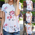New Women Lady Cotton T-Shirt Loose Floral Short Sleeve Tops Blouse Casual Shirt