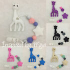 giraffe teether teething clip silicone baby dummy toy shower gift flower