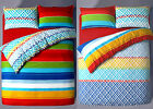 Duvet Cover Bedding Set Rainbow Stripe Jigsaw Candy Bright Poly Cotton All Sizes