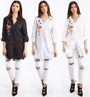 New Women's Ladies Long Sleeves Floral Embroidery Shirt Dress- UK Size S/M & M/L