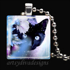 BLACK CAT KITTY MAGIC GLASS TILE PENDANT NECKLACE KEYRING